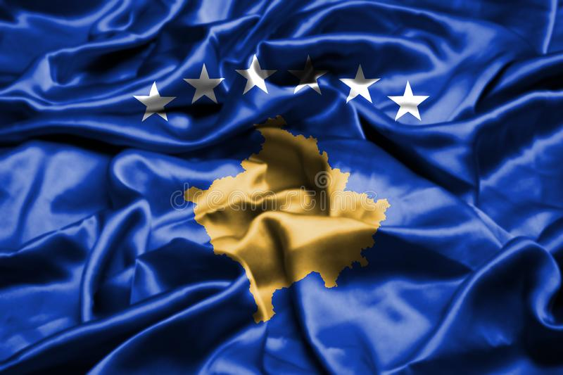 Kosovo flag waving in the wind. vector illustration