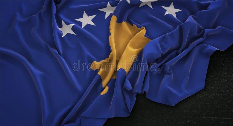 Kosovo Flag Wrinkled On Dark Background 3D Render stock illustration