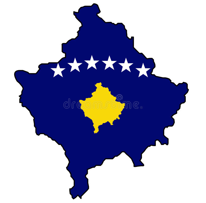Kosovo map with flag. Illustration of the outline of Kosovo map with its flag inside vector illustration