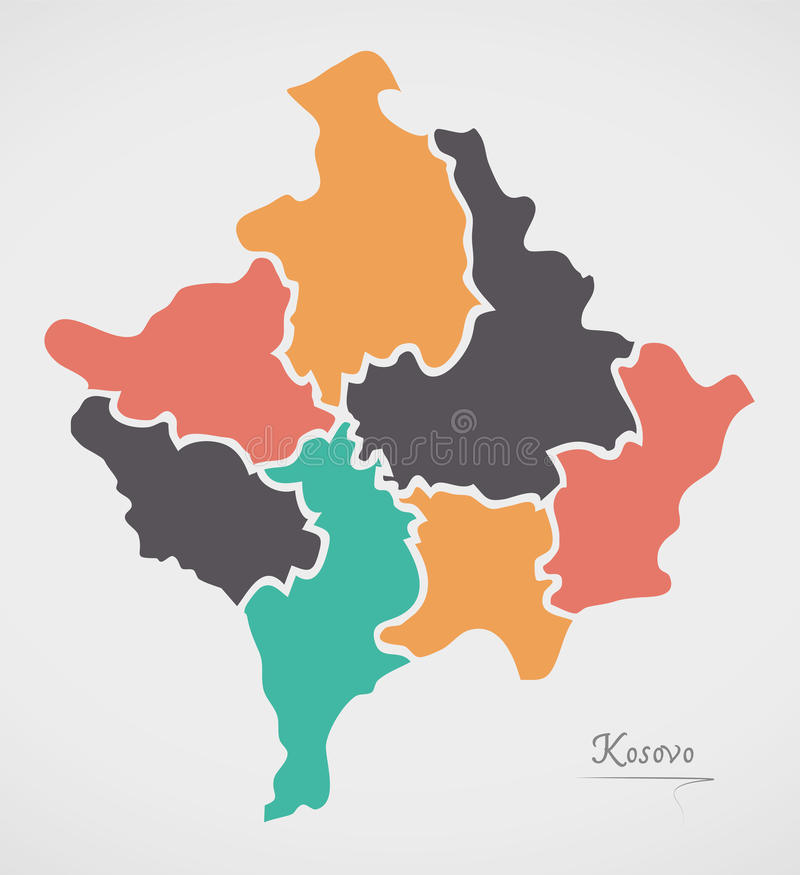 Kosovo Map with states and modern round shapes. Illustration vector illustration