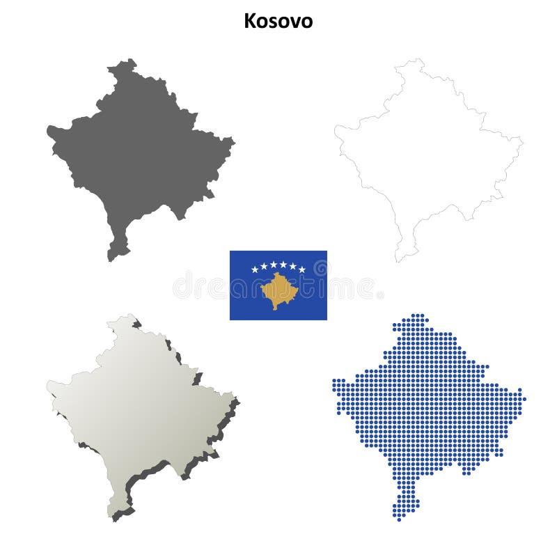 Kosovo outline map set royalty free illustration