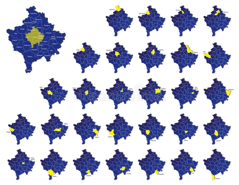 Kosovo Provinces Maps Royalty Free Stock Images