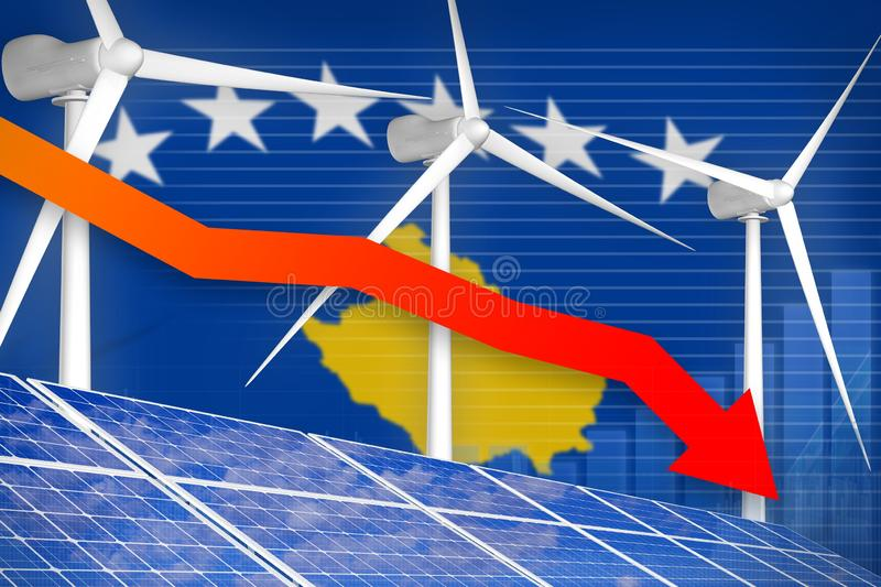 Kosovo solar and wind energy lowering chart, arrow down - alternative natural energy industrial illustration. 3D Illustration royalty free illustration
