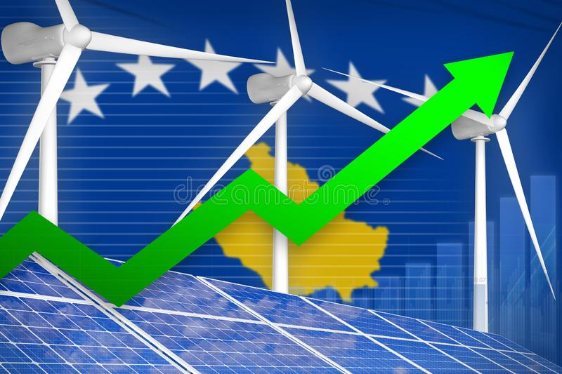 Kosovo solar and wind energy rising chart, arrow up - modern natural energy industrial illustration. 3D Illustration royalty free illustration