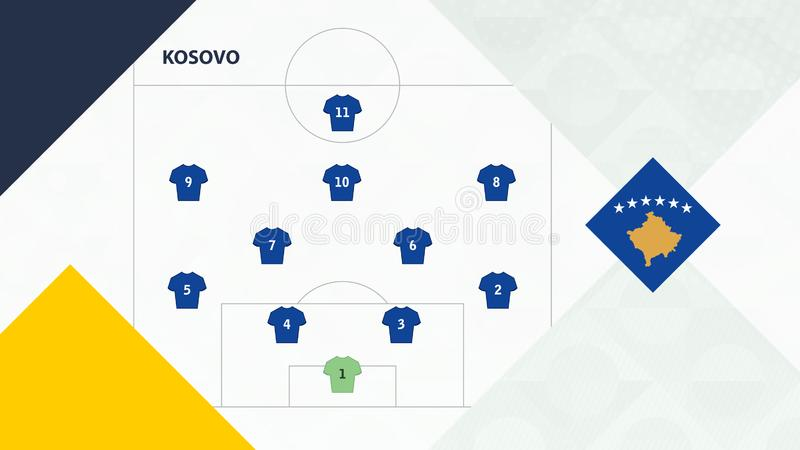 Kosovo team preferred system formation 4-2-3-1, Kosovo football team background for European soccer competition.  stock illustration