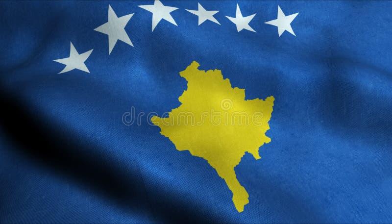 Kosovo vinkande flagga i 3D stock illustrationer
