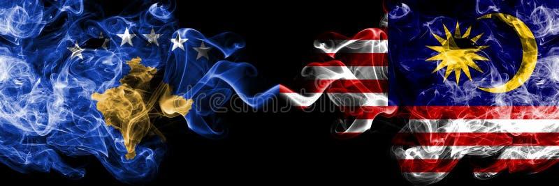 Kosovo vs Malaysia, malaysiska rökiga mystikerflaggor förlade sidan - vid - sidan Tjockt kulört silkeslent röker kombination av K vektor illustrationer