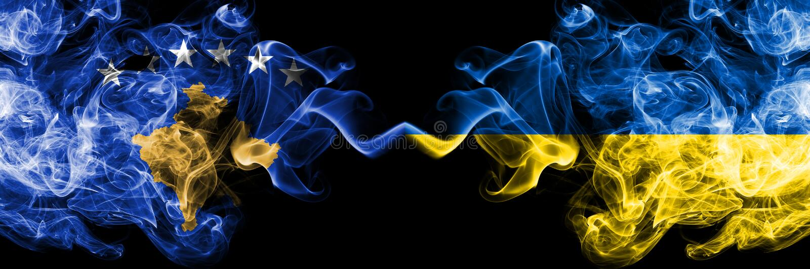 Kosovo vs Ukraine, Ukrainian smoky mystic flags placed side by side. Thick colored silky smokes combination of Kosovo and Ukraine. Ukrainian flag royalty free illustration