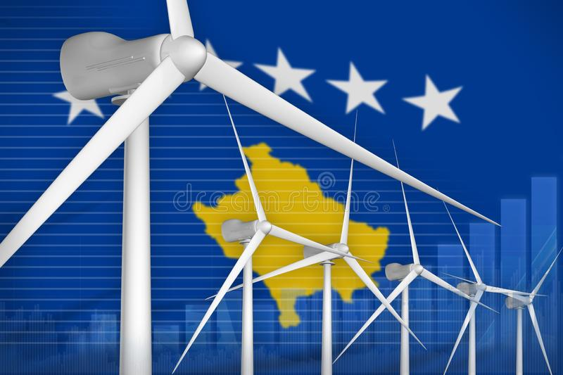 Kosovo wind energy power digital graph concept - environmental natural energy industrial illustration. 3D Illustration stock illustration