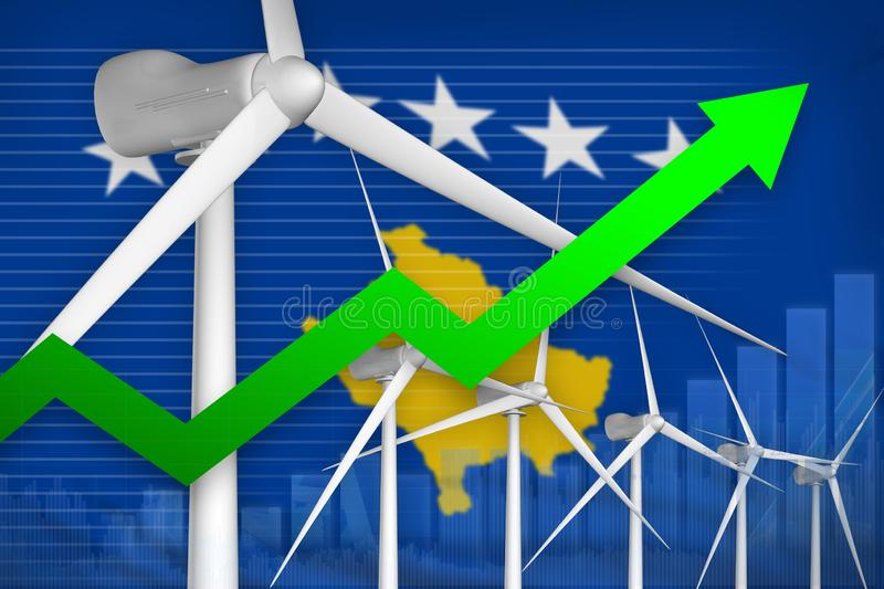 Kosovo wind energy power rising chart, arrow up - renewable natural energy industrial illustration. 3D Illustration vector illustration