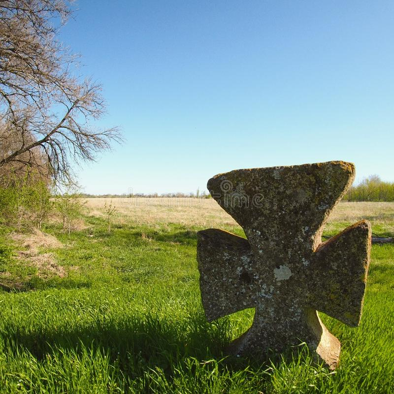 Megalithic cross from Ukraine royalty free stock photo