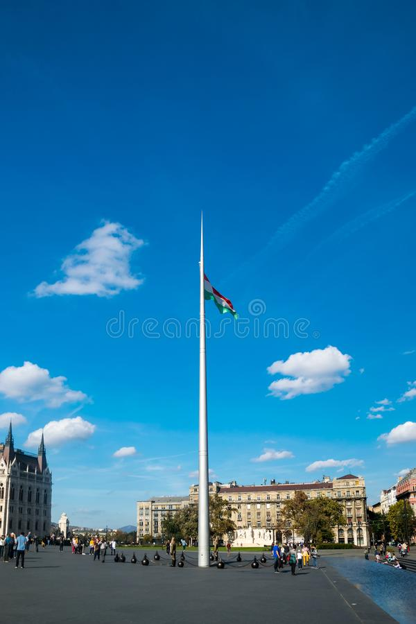 Kossuth Square flagpole. The main national flag of Hungary royalty free stock photography