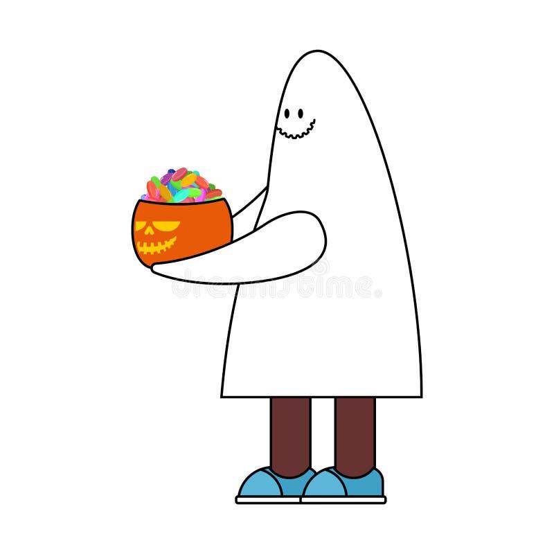 Kostüm-Geist und Kürbis Halloween-Gespenstvektorillustration stock abbildung