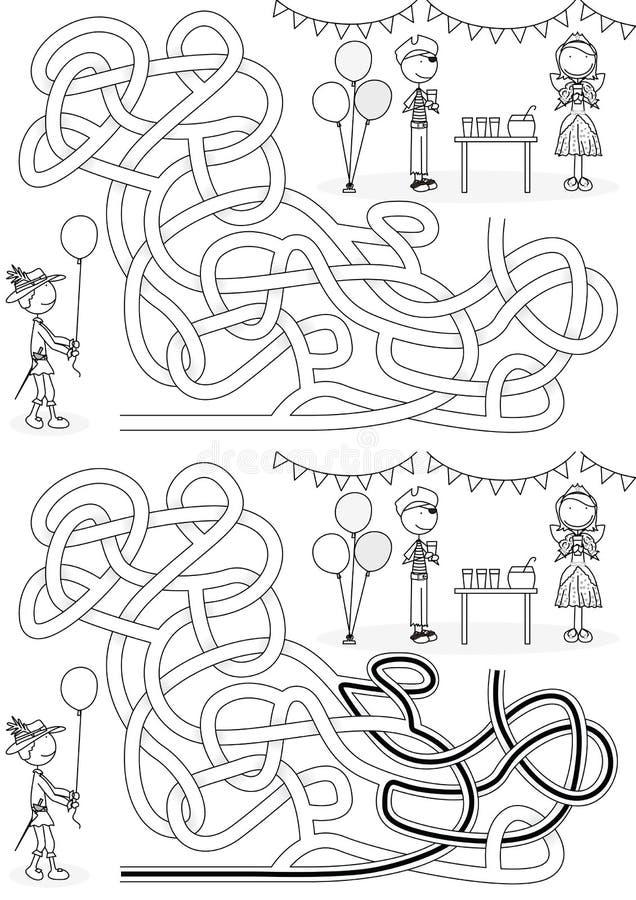 Kostümparteilabyrinth stock abbildung