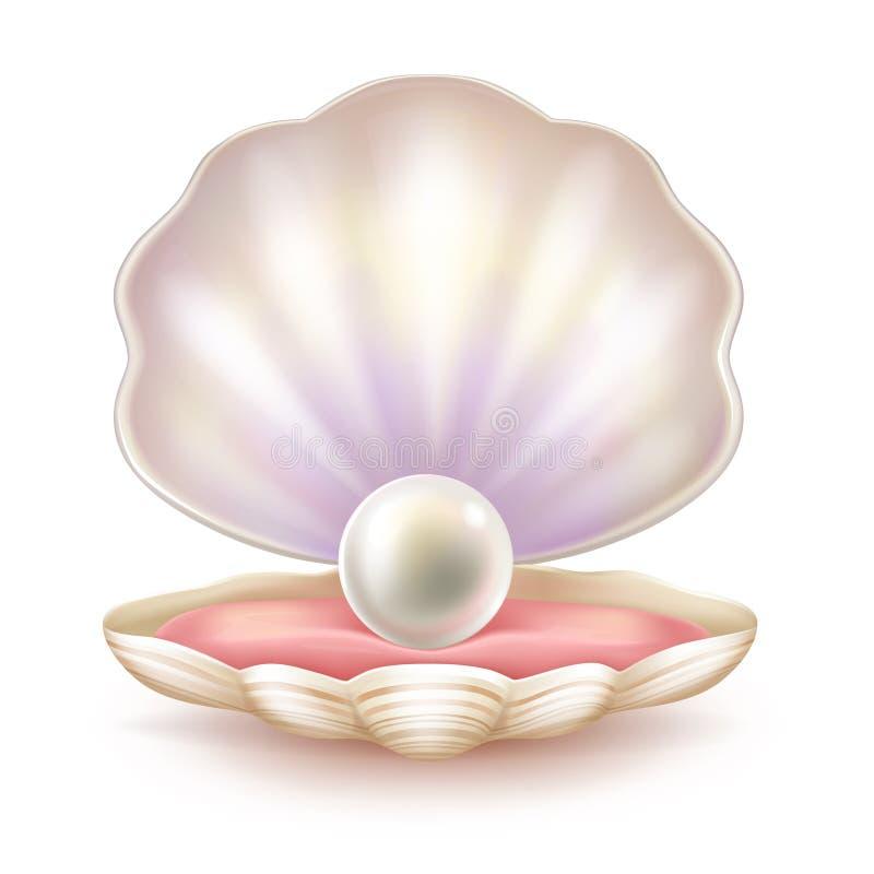 Kostbare parel in geopende shell realistische vector royalty-vrije illustratie