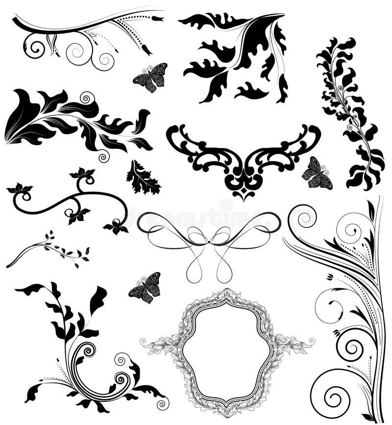 Kostbare reeks decoratieve elementen royalty-vrije illustratie