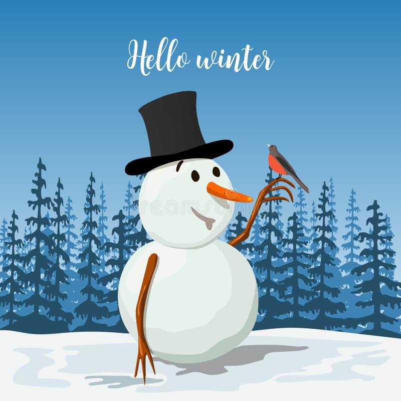 Kostbare Sneeuwman in een hoed Glimlachen Ijzig met een goudvinkvogel Zonnig landschap met silhouet van bosvector stock illustratie