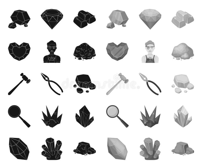 Kostbares Mineralschwarzes Monoikonen in gesetzter Sammlung f?r Entwurf Juwelier- und Ausr?stungsvektorsymbol-Vorratnetz vektor abbildung