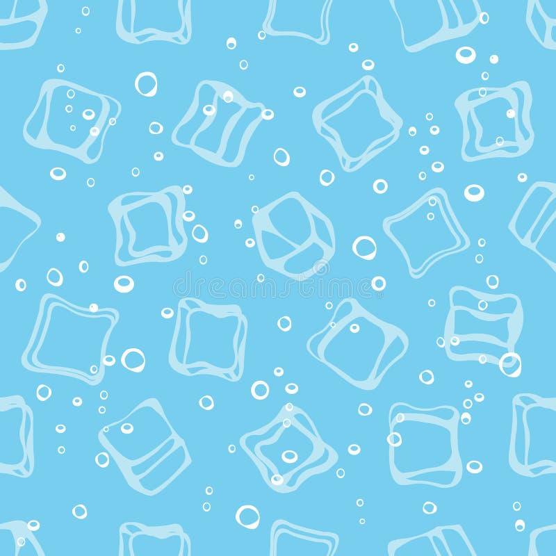 Kostek lodu bełkotania i wodnego błękitnego tekstylnego druku bezszwowy wzór ilustracja wektor