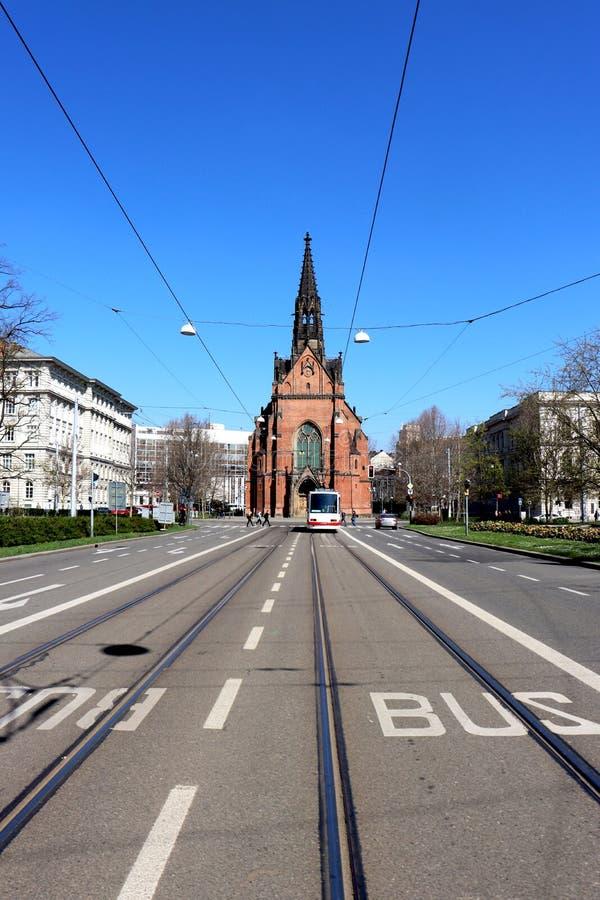 Kostel Jana Amose Komenskeho - Cerveny Kostel arkivfoto