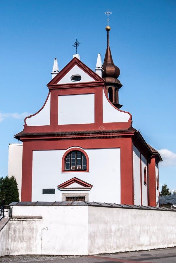 Kostel Nejsvetejsi Trojice教会在捷克共和国的Zdar nad Sazavou市 免版税库存图片