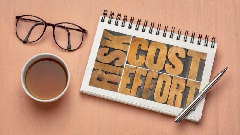 Kosten, inspanning, risico - bedrijfsconcept stock fotografie