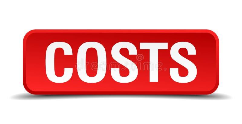 Kosten rode driedimensionele vierkante knoop royalty-vrije illustratie
