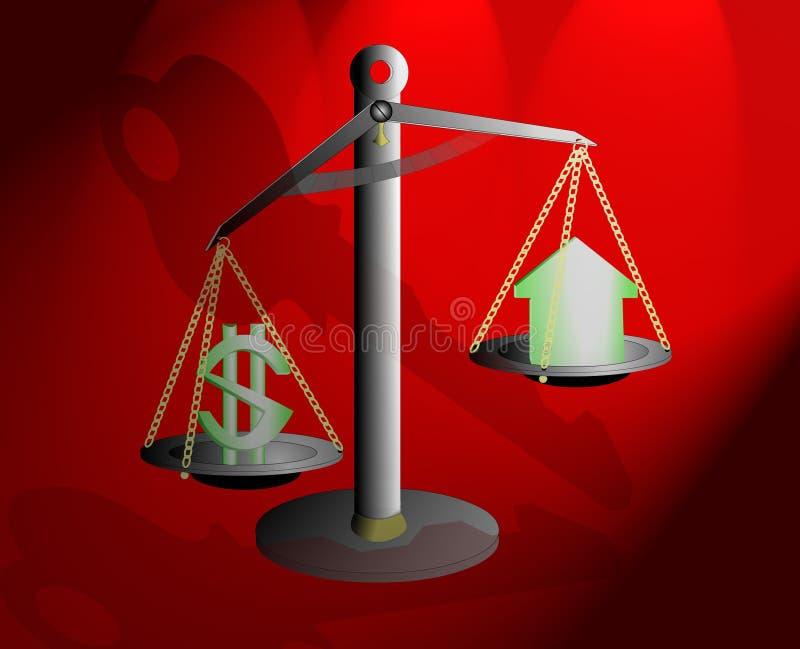 Kosten versus Schuilplaats stock illustratie