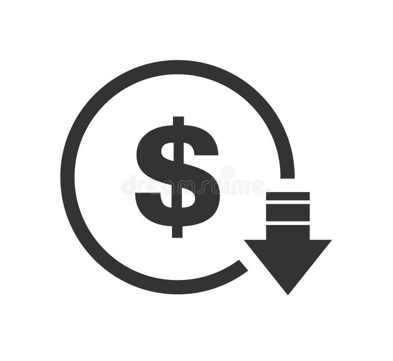Kostenaufstellungsabnahmedollarikone Vektorsymbolbild lokalisiert auf Hintergrund lizenzfreie abbildung