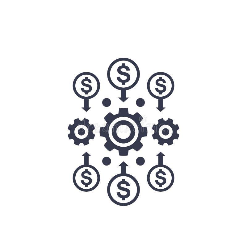 Kostenefficiency en optimalisering, geldbeheer vector illustratie