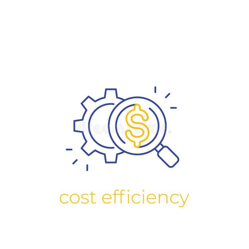 Kostenefficiency, vector lineair pictogram royalty-vrije illustratie