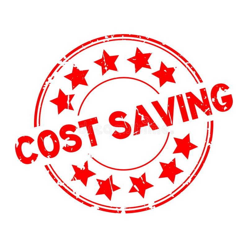 Kosteneinsparungswort des Schmutzes rotes mit Sternikone ringsum GummidichtungsFirmenstempel auf weißem Hintergrund lizenzfreie abbildung