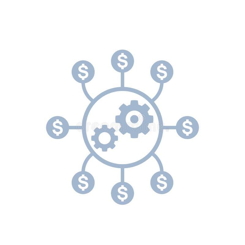 Kostenoptimalisering, het pictogram van de productieefficiency vector illustratie
