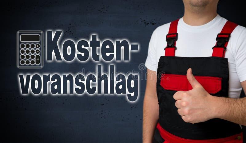 Kostenvoranschlag en la valoración de costes alemana es mostrado por craftsma fotos de archivo