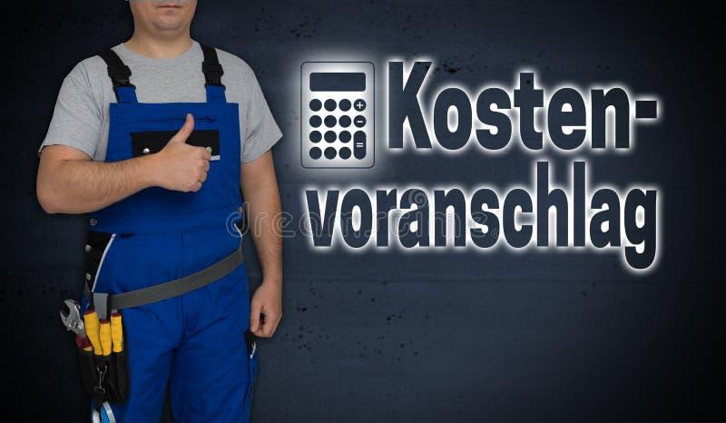 Kostenvoranschlag na cotação alemão com calculadora e craf imagens de stock royalty free