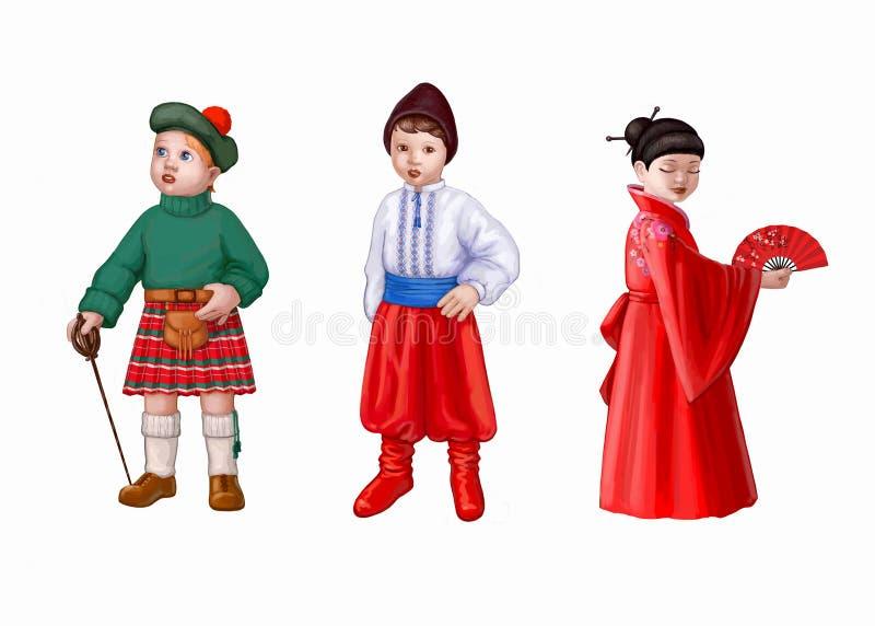 kostiumów dzieciaki trzy ilustracji