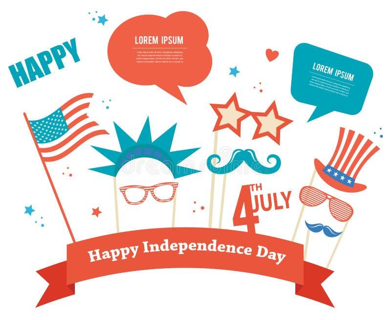 Kostiumów wsparcia dla dnia niepodległości Ameryka ilustracja wektor