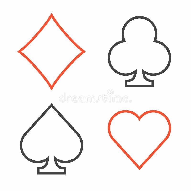 Kostium karta do gry, cienki kreskowy styl ilustracji