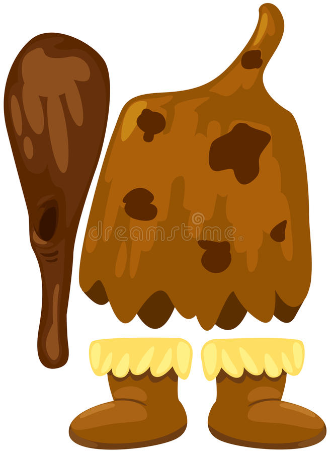 kostiumowy caveman set ilustracja wektor