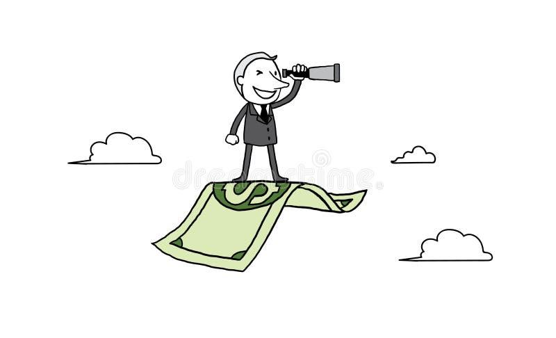 Kostiumu mężczyzna przyglądający teleskop na latającym banknocie biznesowego pojęcia diagrama ogniskowania szkła target1865_0_ wz ilustracja wektor