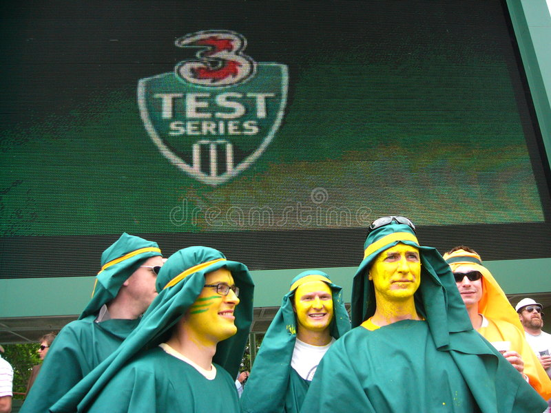 kostiumy grać w krykieta tłumu test zdjęcie stock