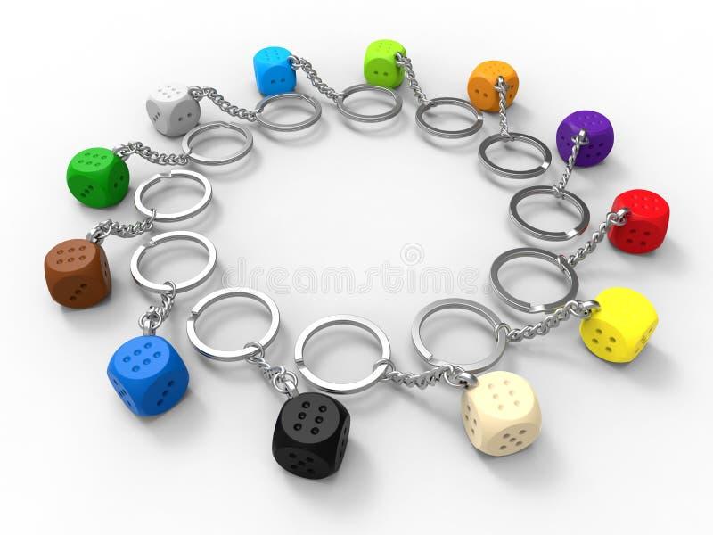 Kostka do gry łańcuchu koloru różnorodności pojęcie ilustracja wektor
