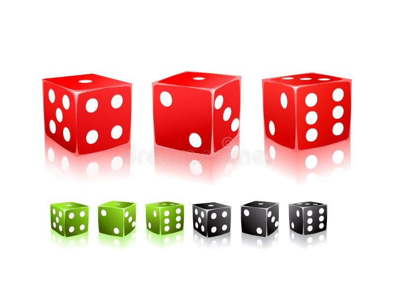 kostka do gry czarny kropki zielenieją ikona biel czerwonego ustalonego royalty ilustracja