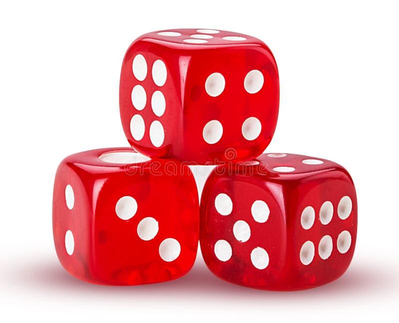 kostka do gry czerwień trzy obrazy royalty free