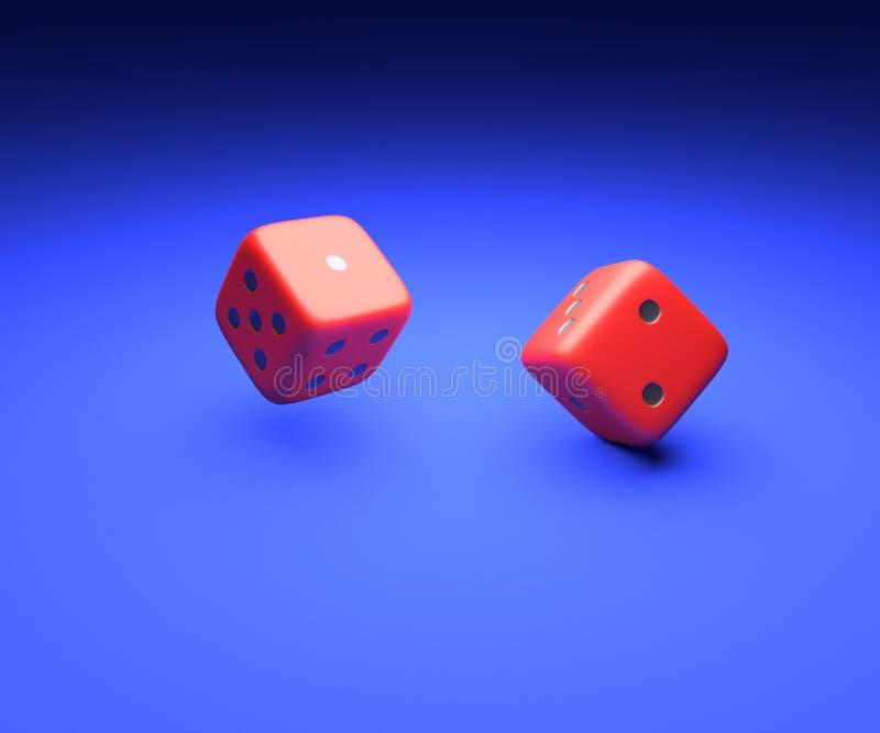 Kostka do gry: Gra szczęście Czerwoni kostka do gry na błękitnym tle 3d obraz royalty free