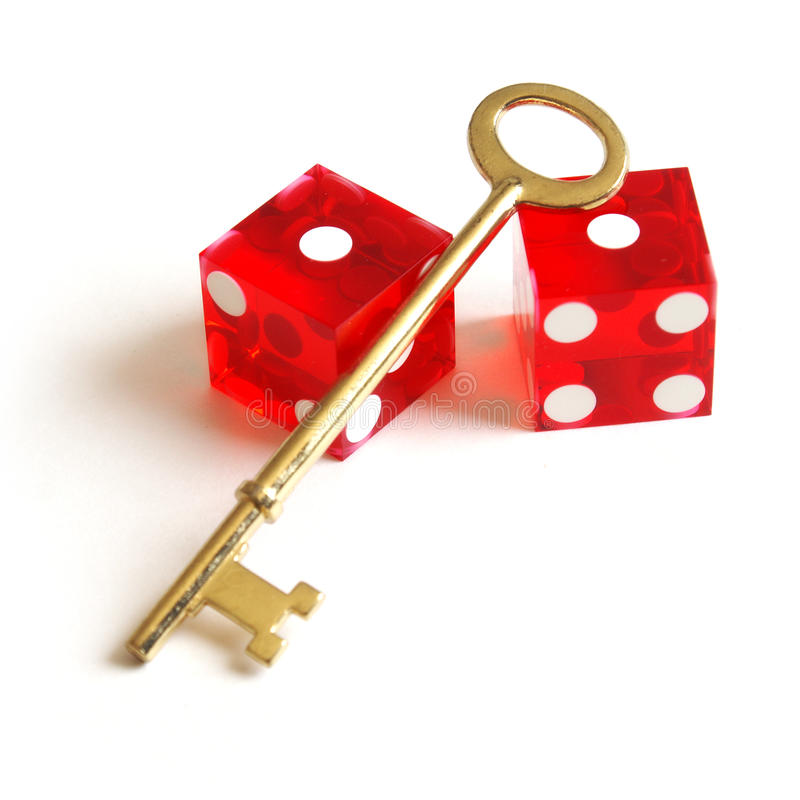 Kostka do gry i klucz obraz royalty free