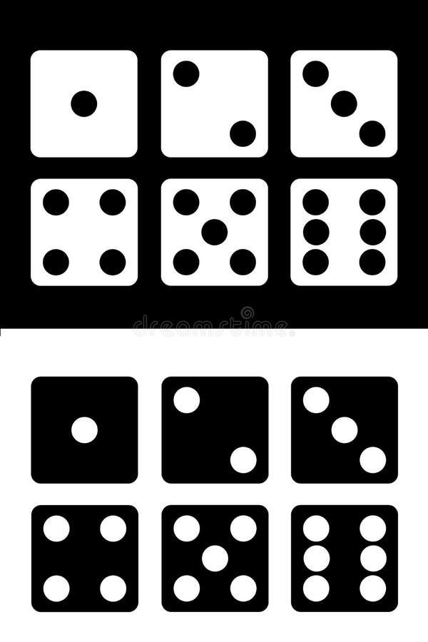 Kostka do gry ikony ustawiają białego i czarnego tło również zwrócić corel ilustracji wektora royalty ilustracja