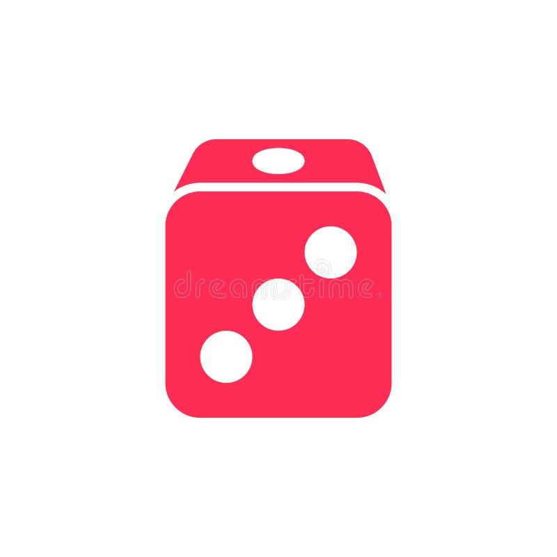 Kostka do gry ikony wektor, wypełniający mieszkanie znak, stały kolorowy piktograma iso ilustracji
