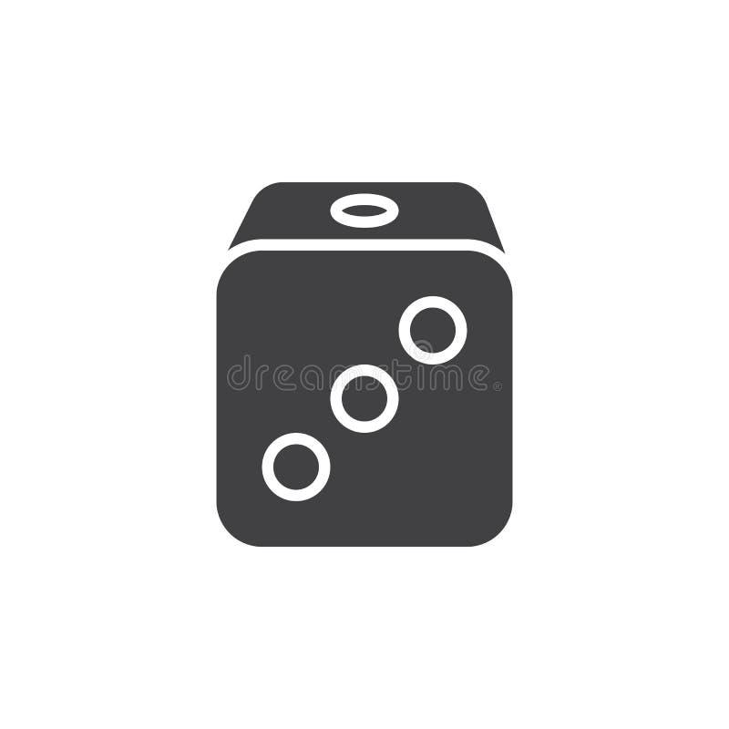 Kostka do gry ikony wektor, wypełniający mieszkanie znak, stały piktogram odizolowywający royalty ilustracja