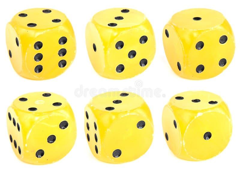 kostka do gry kolor żółty obraz royalty free